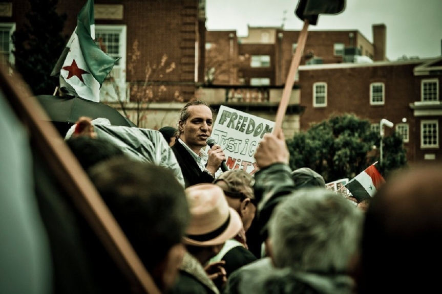 From a demonstration in front of the Syrian Embassy in 2011
