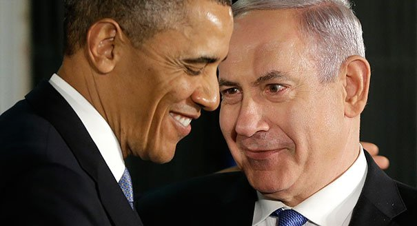 "AP Photo celebrating the ""new dynamic"" between Obama and Netanyahu following their meeting in march 2013."