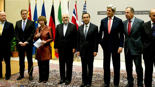 Scene from the Geneva talks over Iran's nuclear program.