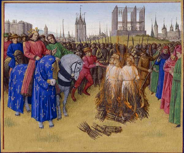 The burning of adherents of the pantheistic Amalrician sect in 1210, in the presence of King Philip II Augustus. (Wikipedia)
