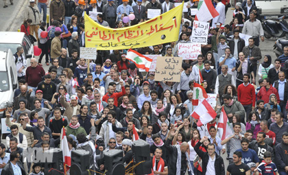 Thousands of Lebanese on Sunday rallied in Beirut calling for an end to the system of power-sharing along religious lines. (11/04/2011, NOW Lebanon)