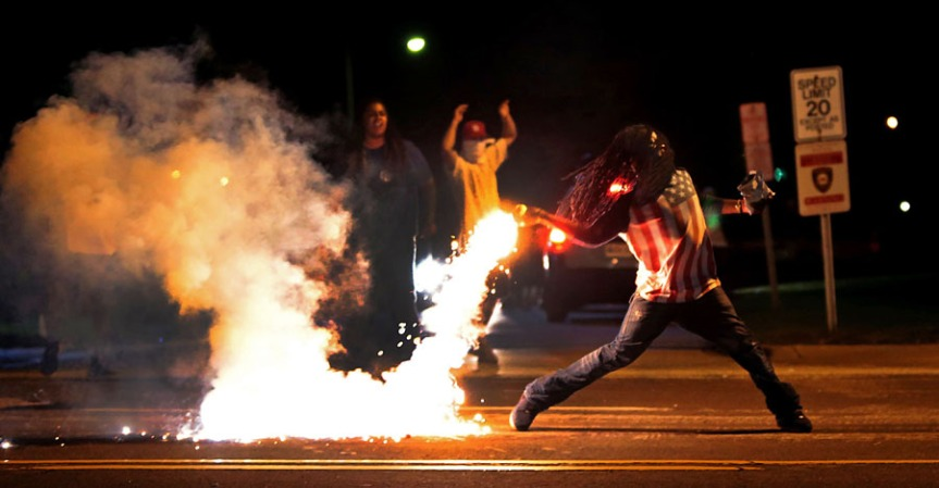 A scene from the protests in Ferguson, Missouri