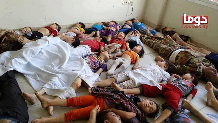 Some of the children killed in the chemical weapons attack launched by the soldiers of Bashar al-Assad in August 21, 2013.