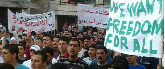 Nonviolent prodemocracy protesters in Syria, April 2011