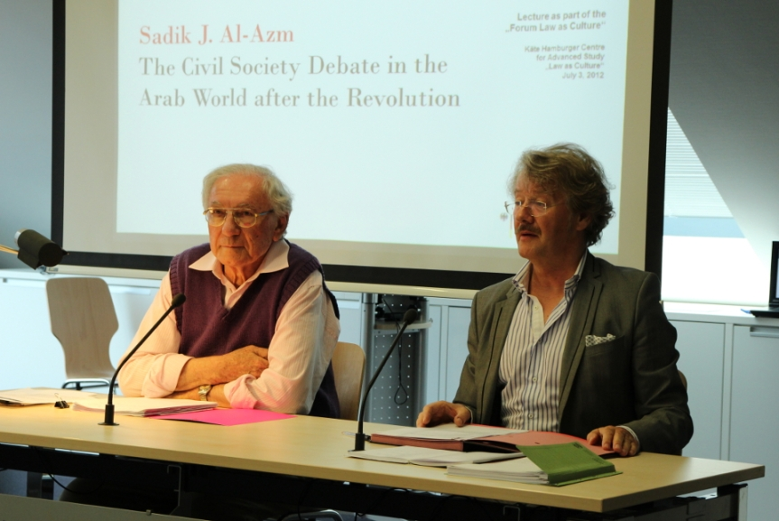 Syrian philosopher and intellectual, Sadiq J. Al-Azm, (left) is seen here giving a lecture at the Käte Hamburger Center for Advanced Study in the Humanities, July 3, 2012.
