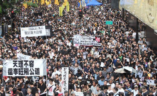 A scene from the protests in Hong Kong