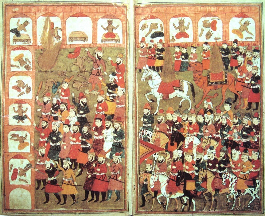 "A miniature showing the destruction of idols at the Kaaba. Muhammad (top left and mounted at right) is represented as a flaming aureole. From Hamla-i haydarî (""Haydar's Battle""), Kashmir, 1808."