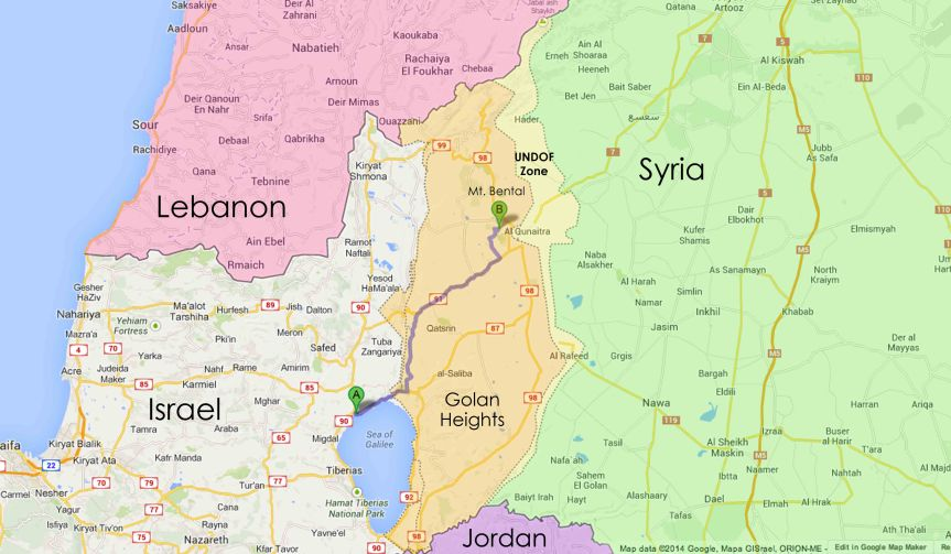 Map of the Golan Heights